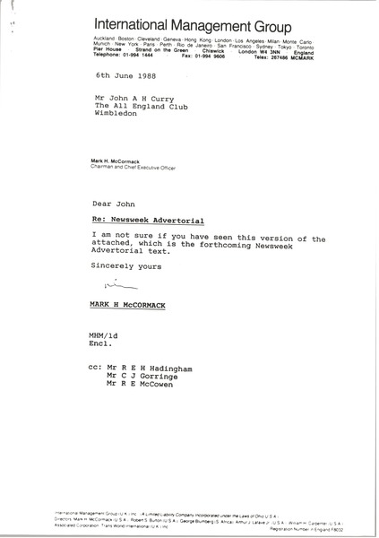 Letter from Mark H. McCormack to John A. H. Curry, June 6, 1988