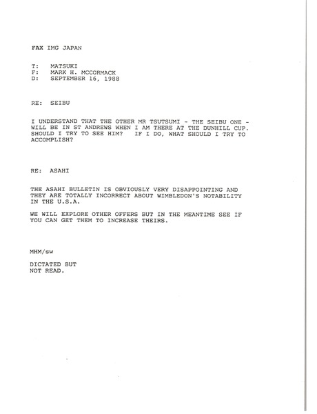 Fax from Mark H. McCormack to Matsuki, September 16, 1988
