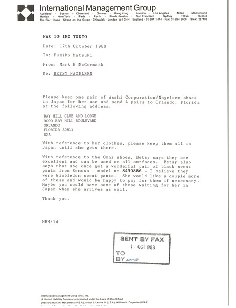 Fax from Mark H. McCormack to Fumiko Matsuki, October 17, 1988