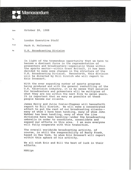 Memorandum from Mark H. McCormack to London Executive Staff, October 26, 1988