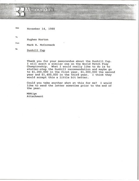 Memorandum from Mark H. McCormack to Hughes Norton, November 14, 1988