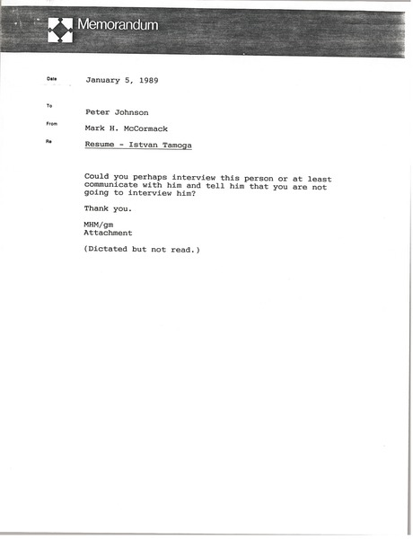 Memorandum from Mark H. McCormack to Peter Johnson, January 5, 1989