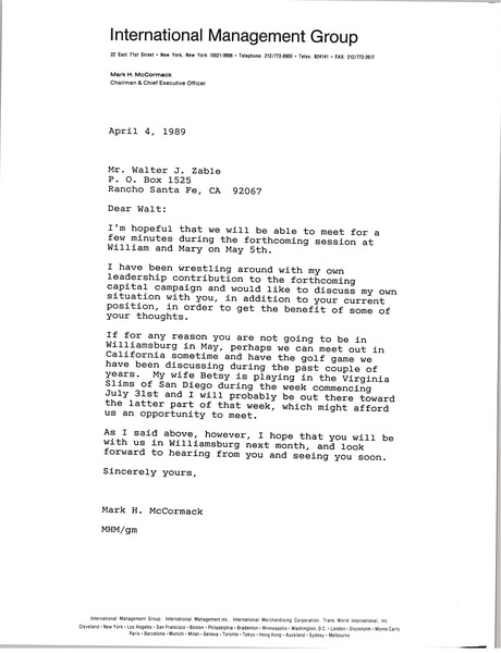 Letter from Mark H. McCormack to Walter J. Zable, April 4, 1989