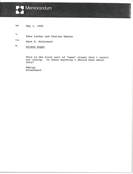 Memorandum from Mark H. McCormack to Edna Landau, May 1, 1989