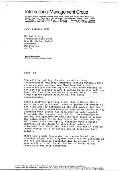 Letter from Mark H. McCormack to Pat Rielly, October 12, 1989