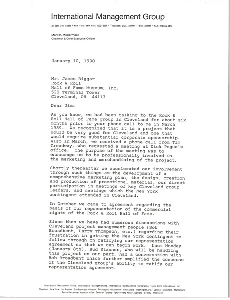 Letter from Mark H. McCormack to James Biggar, January 10, 1990
