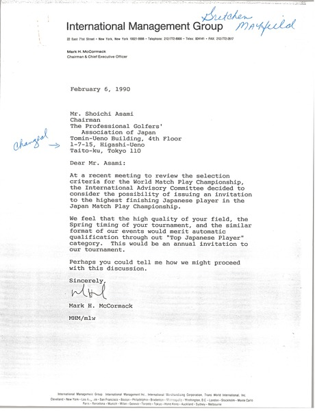 Letter from Mark H. McCormack to Shoichi Asami, February 6, 1990