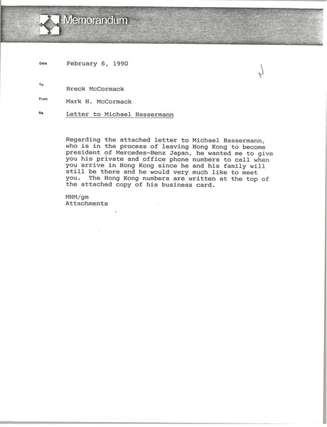 Memorandum from Mark H. McCormack to Breck McCormack, February 6, 1990
