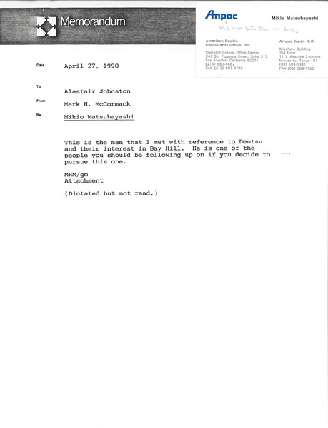 Memorandum from Mark H. McCormack to Alastair Johnston, April 27, 1990