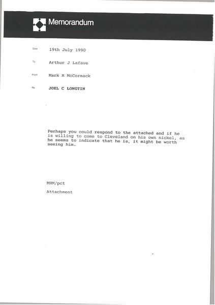 Memorandum from Mark H. McCormack to Arthur J. Lafave, July 19, 1990
