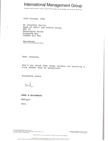 Letter from Mark H. McCoramck to Jonathan Martin, October 10, 1990