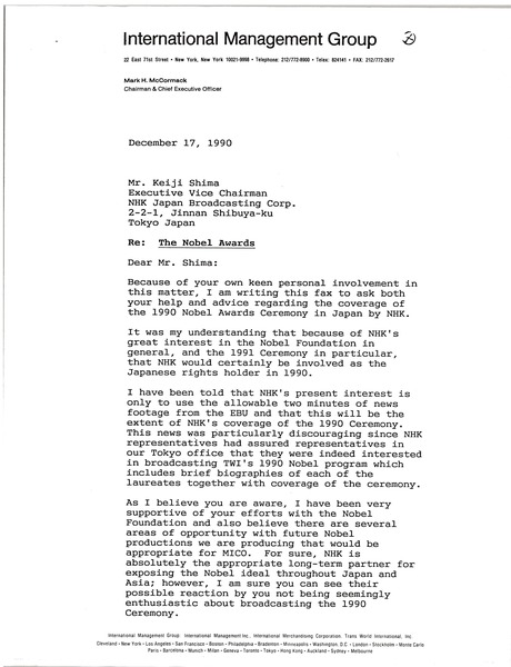 Letter from Mark H. McCormack to Keiji Shima, December 17, 1990