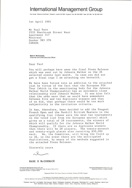 Letter from Mark H. McCormack to Paul Pare, April 1, 1991