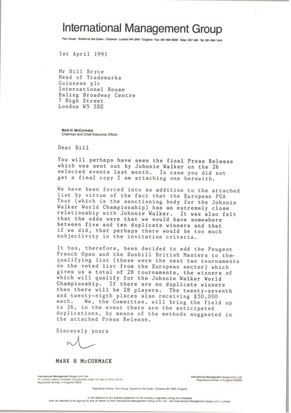 Letter from Mark H. McCormack to Bill Bryce, April 1, 1991