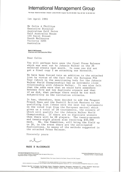 Letter from Mark H. McCormack to Colin A. Phillips, April 1, 1991
