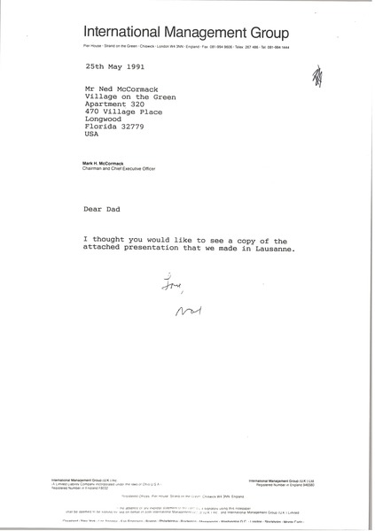 Letter from Mark H. McCormack to Ned McCormack, May 25, 1991