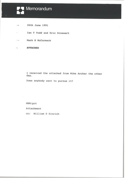 Memorandum from Mark H. McCormack to Ian T. Todd, June 26, 1991