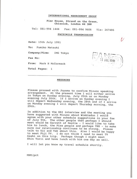 Fax from Mark H. McCormack to Fumiko Matsuki, July 15, 1991