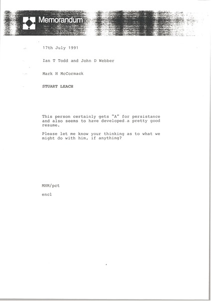Memorandum from Mark H. McCormack to Ian Todd, July 16, 1991