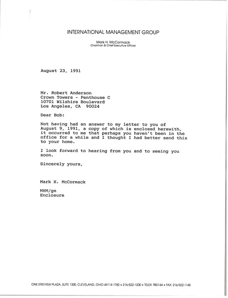 Letter from Mark H. McCormack to Robert Anderson, August 23, 1991