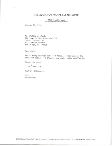 Letter from Mark H. McCormack to Walter J. Zable, August 28, 1991