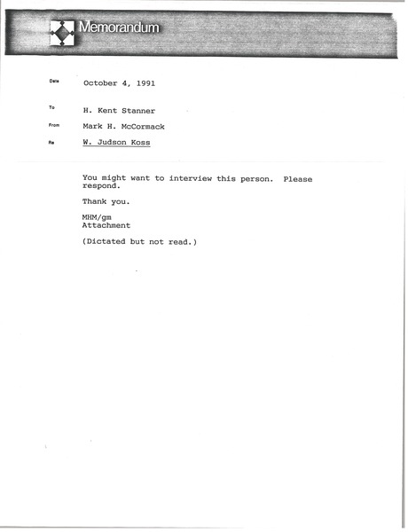 Memorandum from Mark H. McCormack to H. Kent Stanner, October 4, 1991