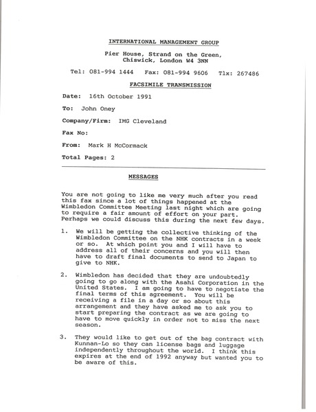 Fax from Mark H. McCormack to John Oney, October 16, 1991