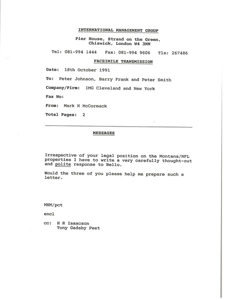 Fax from Mark H. McCormack to Peter Johnson, Barry Frank and Peter Smith, October 18, 1991