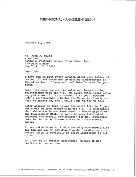 Letter from Mark H. McCormack to John J. Bello, October 31, 1991