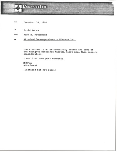 Memorandum from Mark H. McCormack to David Yates, December 10, 1991
