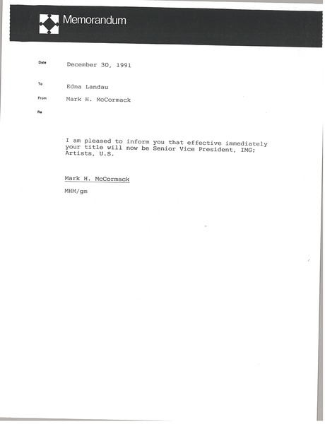 Memorandum from Mark H. McCormack to Edna Landau, December 30, 1991