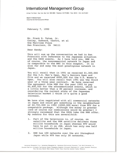 Letter from Mark H. McCormack to Frank D. Tatum, February 7, 1992