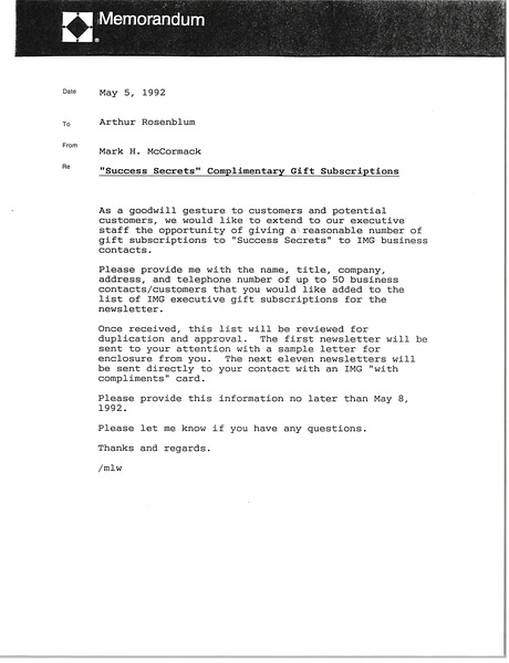 Memorandum from Mark H. McCormack to Arthur Rosenblum, May 5, 1992
