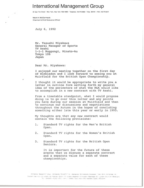 Letter from Mark H. McCormack to Yasushi Miyakawa, July 6, 1992