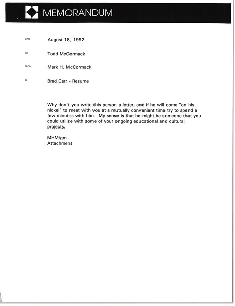 Memorandum from Mark H. McCormack to Todd McCormack, August 18, 1992