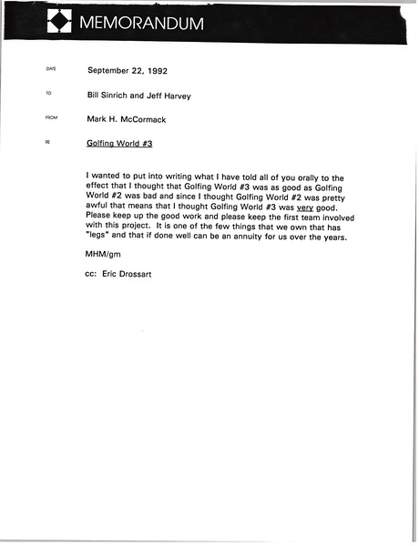 Memorandum from Mark H. McCormack to Bill Sinrich and Jeff Harvey, September 22, 1992