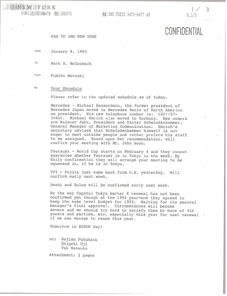 Fax to Mark H. McCormack regarding schedule during Japan trip, January 8, 1993