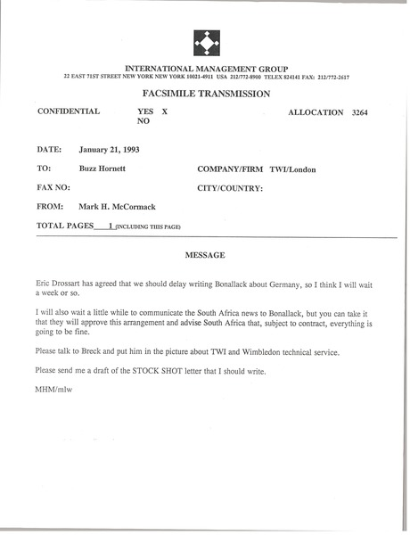 Memorandum from Mark H. McCormack to Buzz Hornett, January 21, 1993