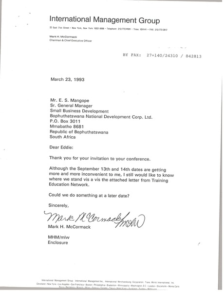 Letter from Mark H. McCormack to E. S. Mangope, March 23, 1993