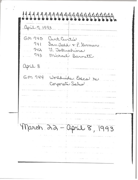 Notes on correspondence, April 8, 1993