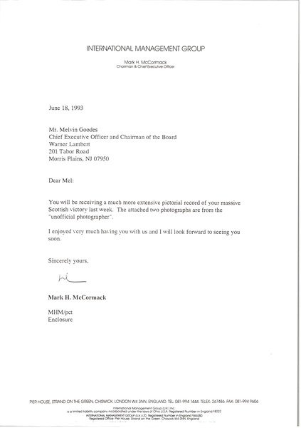 Letter from Mark H. McCormack to Melvin Goodes, June 18, 1993