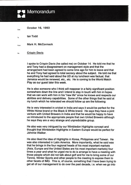 Memorandum from Mark H. McCormack to Ian Todd, October 16, 1993