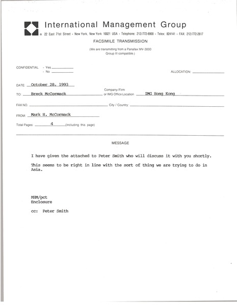 Fax from Mark H. McCormack to Breck McCormack, October 28, 1993