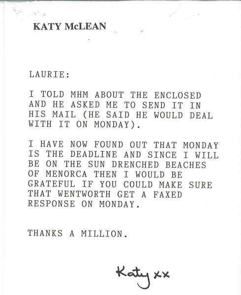 Note from Katy McLean to Laurie Roggenburk, August 5, 1994