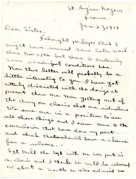 Letter from Charles E. Jackson to sister, January 27, 1919