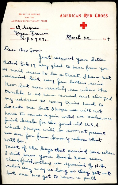 Letter from Charles E. Jackson to Thomas W. Jackson, March 22, 1919