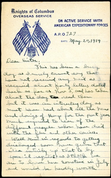 Letter from Charles E. Jackson to sister, May 20, 1919