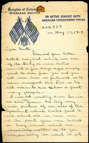 Letter from Charles E. Jackson to sister, May 22, 1919