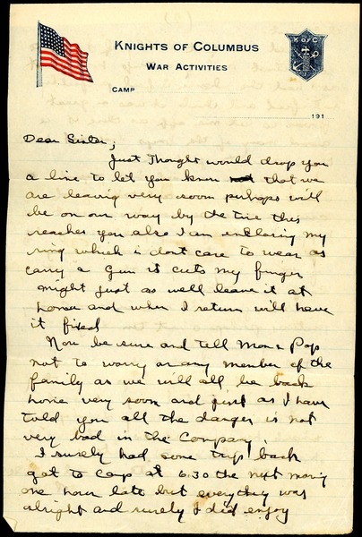 Letter from Charles E. Jackson to sister, ca. July 1918