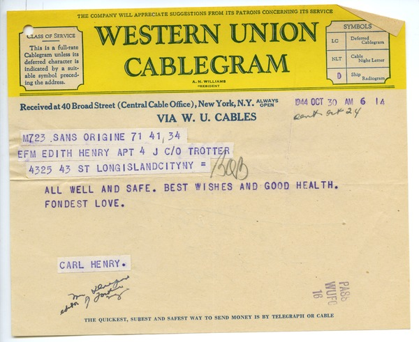 Cablegram from Carl Henry to Edith Henry, October 24, 1944